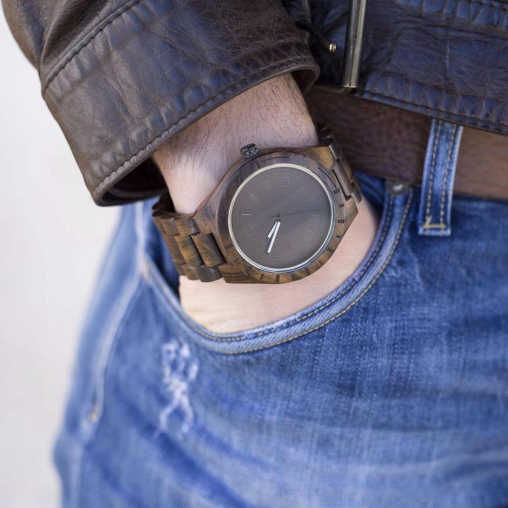 Naturholz - Designer Holz Quartz Herren Uhr