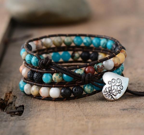 Erdwerk - Handgemachtes Leder Armband mit Natursteinen und Lavaperlen