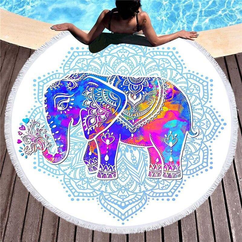 Elefanten Strandtuch - Schickes Strandtuch mit Elefanten Mandala